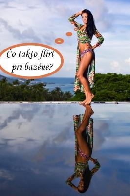 Sexy kráska flirtuje pri bazéne