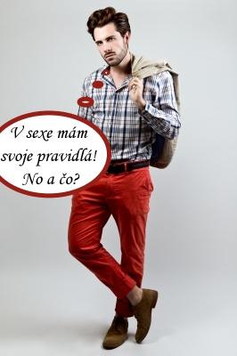 Elegán v červených nohaviciach