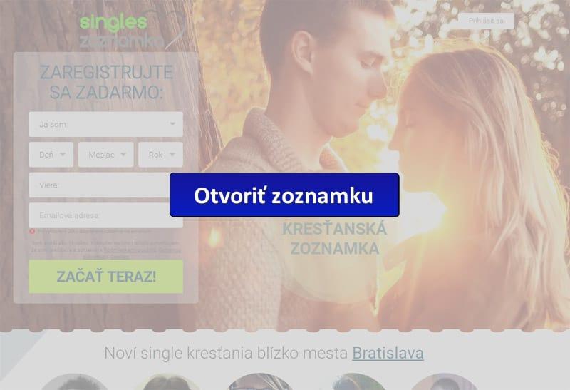 screenshot Kresťanskej zoznamky singles