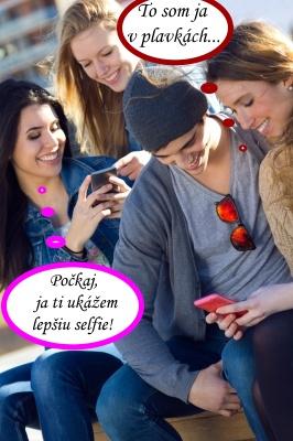 Partia mladých ľudí s telefónmi